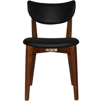 Rialto Commercial Grade Oak Timber Dining Chair, Vinyle Seat & Back, Black / Light Walnut
