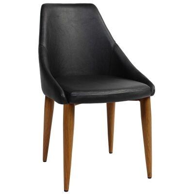 Stockholm Commercial Grade Vinyl Dining Chair, Metal Leg, Black / Light Oak