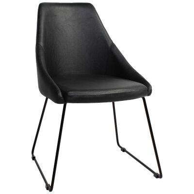 Stockholm Commercial Grade Vinyl Dining Chair, Sled Metal Leg, Black / Black