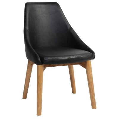 Stockholm Commercial Grade Vinyl Dining Chair, Timber Leg, Black / Light Oak