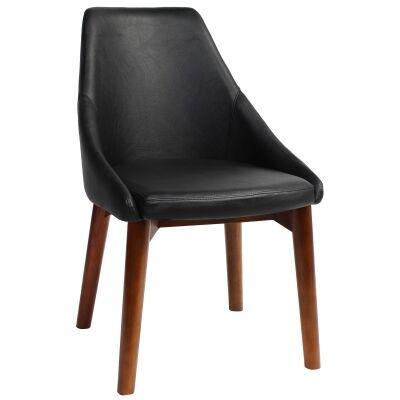 Stockholm Commercial Grade Vinyl Dining Chair, Timber Leg, Black / Light Walnut