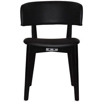 Torino Commercial Grade Oak Timber Dining Chair, Vinyl Seat & Back, Black / Black