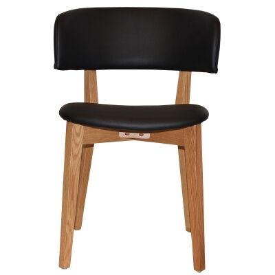 Torino Commercial Grade Oak Timber Dining Chair, Vinyl Seat & Back, Black / Light Oak