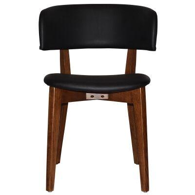 Torino Commercial Grade Oak Timber Dining Chair, Vinyl Seat & Back, Black / Light Walnut