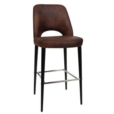 Albury Commercial Grade Fabric Bar Stool, Metal Leg, Bison / Black
