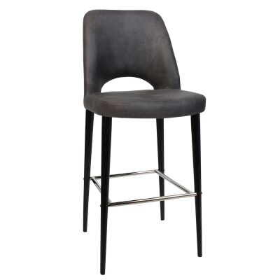 Albury Commercial Grade Fabric Bar Stool, Metal Leg, Slate / Black