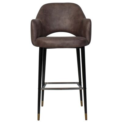 Albury Commercial Grade Fabric Bar Stool with Arm, Metal Leg, Donkey / Black Brass