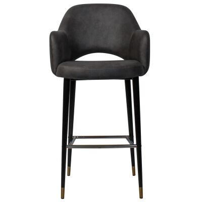 Albury Commercial Grade Fabric Bar Stool with Arm, Metal Leg, Slate / Black Brass