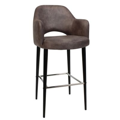 Albury Commercial Grade Fabric Bar Stool with Arm, Metal Leg, Donkey / Black