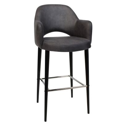 Albury Commercial Grade Fabric Bar Stool with Arm, Metal Leg, Slate / Black