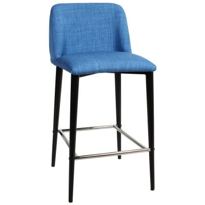 Clovelly Commercial Grade Fabric Counter Stool, Metal Leg, Blue / Black