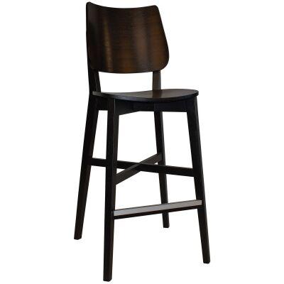 Dakota Commercial Grade Oak Timber Bar Stool, Timber Seat, Black
