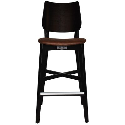Dakota Commercial Grade Oak Timber Bar Stool, Fabric Seat, Bison / Black