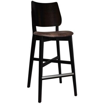 Dakota Commercial Grade Oak Timber Bar Stool, Fabric Seat, Donkey / Black