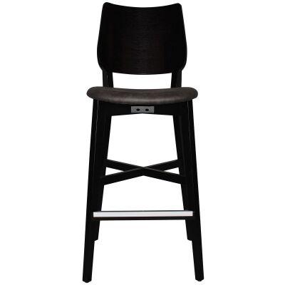 Dakota Commercial Grade Oak Timber Bar Stool, Fabric Seat, Slate / Black