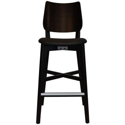 Dakota Commercial Grade Oak Timber Bar Stool, Vinyl Seat, Black / Black