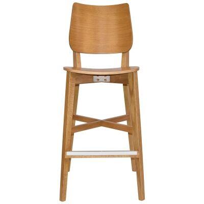 Dakota Commercial Grade Oak Timber Bar Stool, Timber Seat, Light Oak