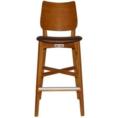 Dakota Commercial Grade Oak Timber Bar Stool, Fabric Seat, Bison / Light Oak
