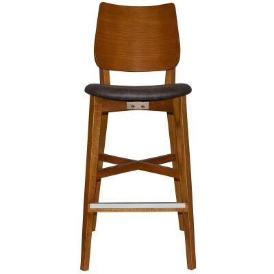 Dakota Commercial Grade Oak Timber Bar Stool, Fabric Seat, Slate / Light Oak