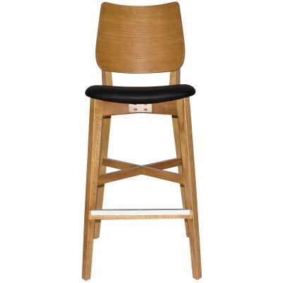 Dakota Commercial Grade Oak Timber Bar Stool, Vinyl Seat, Black / Light Oak