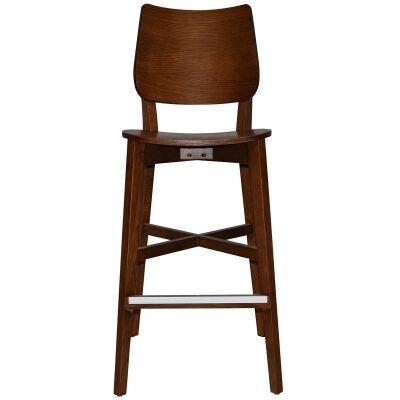 Dakota Commercial Grade Oak Timber Bar Stool, Timber Seat, Light Walnut