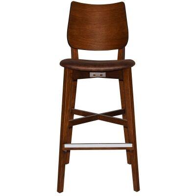 Dakota Commercial Grade Oak Timber Bar Stool, Fabric Seat, Bison / Light Walnut