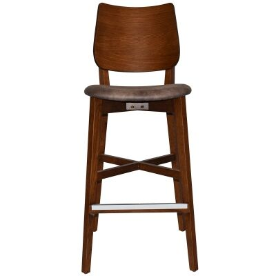 Dakota Commercial Grade Oak Timber Bar Stool, Fabric Seat, Donkey / Light Walnut