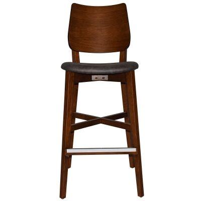 Dakota Commercial Grade Oak Timber Bar Stool, Fabric Seat, Slate / Light Walnut