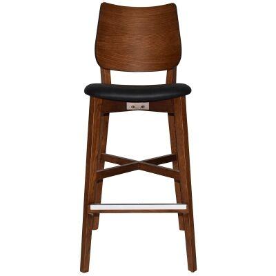 Dakota Commercial Grade Oak Timber Bar Stool, Vinyl Seat, Black / Light Walnut