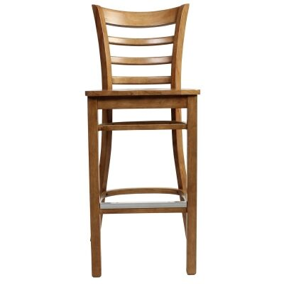 Mustang Commercial Grade Rubberwood Bar Stool, Timber Seat, Light Oak
