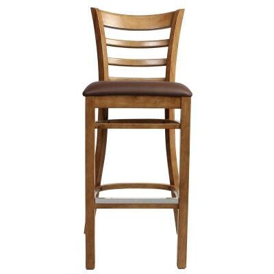 Mustang Commercial Grade Rubberwood Bar Stool, Vinyl Seat, Light Oak