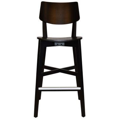 Phoenix Commercial Grade Oak Timber Bar Stool, Timber Seat, Black