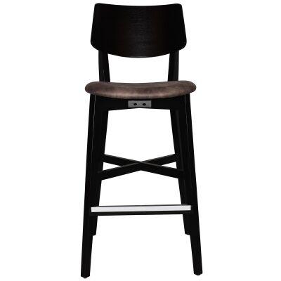 Phoenix Commercial Grade Oak Timber Bar Stool, Fabric Seat, Donkey / Black