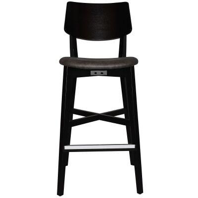 Phoenix Commercial Grade Oak Timber Bar Stool, Fabric Seat, Slate / Black