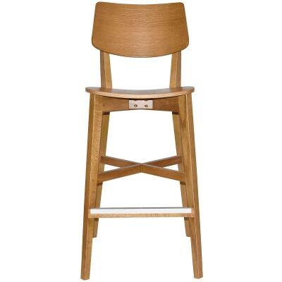 Phoenix Commercial Grade Oak Timber Bar Stool, Timber Seat, Light Oak