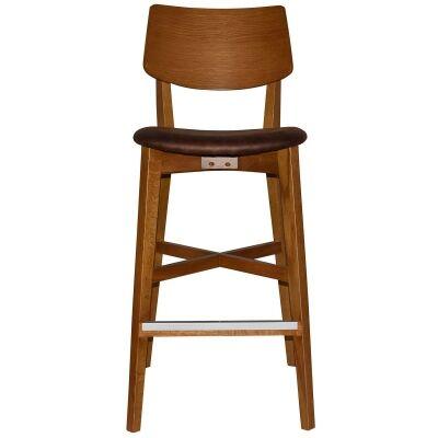 Phoenix Commercial Grade Oak Timber Bar Stool, Fabric Seat, Bison / Light Oak