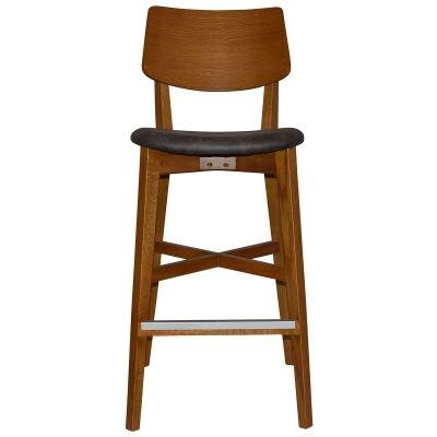 Phoenix Commercial Grade Oak Timber Bar Stool, Fabric Seat, Slate / Light Oak