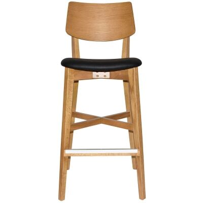 Phoenix Commercial Grade Oak Timber Bar Stool, Vinyl Seat, Black / Light Oak