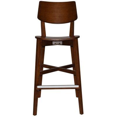 Phoenix Commercial Grade Oak Timber Bar Stool, Timber Seat, Light Walnut