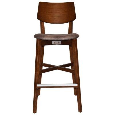 Phoenix Commercial Grade Oak Timber Bar Stool, Fabric Seat, Donkey / Light Walnut