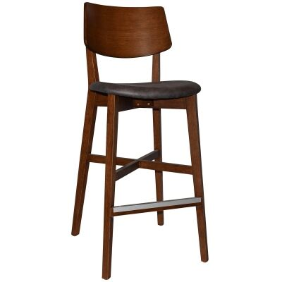 Phoenix Commercial Grade Oak Timber Bar Stool, Fabric Seat, Slate / Light Walnut
