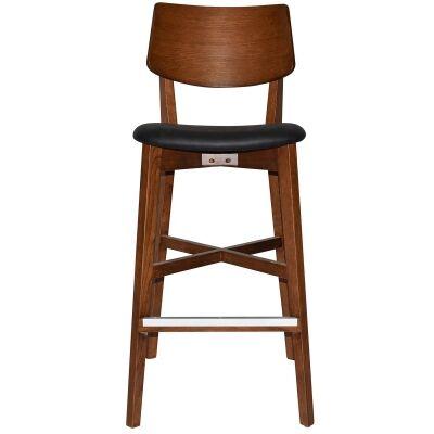 Phoenix Commercial Grade Oak Timber Bar Stool, Vinyl Seat, Black / Light Walnut
