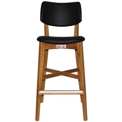 Phoenix Commercial Grade Oak Timber Bar Stool, Vinyl Seat & Back, Black / Light Oak