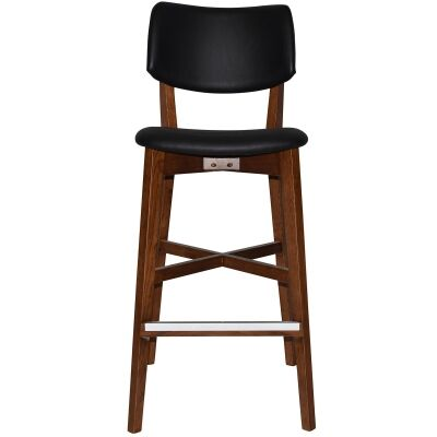 Phoenix Commercial Grade Oak Timber Bar Stool, Vinyl Seat & Back, Black / Light Walnut