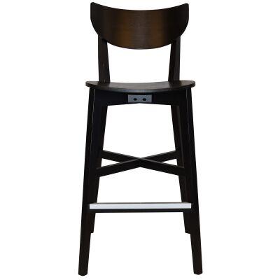 Rialto Commercial Grade Oak Timber Bar Stool, Timber Seat, Black