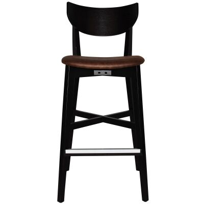 Rialto Commercial Grade Oak Timber Bar Stool, Fabric Seat, Bison / Black
