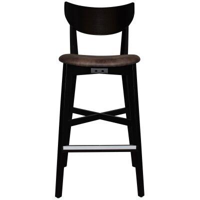 Rialto Commercial Grade Oak Timber Bar Stool, Fabric Seat, Donkey / Black