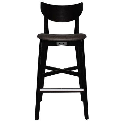 Rialto Commercial Grade Oak Timber Bar Stool, Fabric Seat, Slate / Black