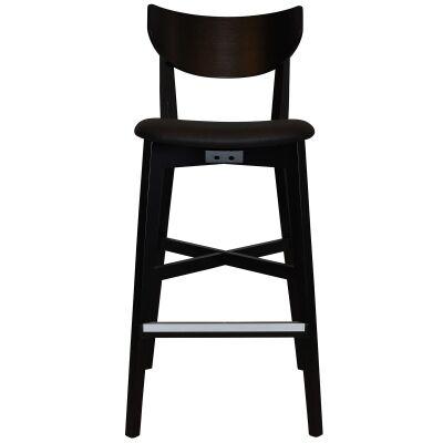 Rialto Commercial Grade Oak Timber Bar Stool, Vinyl Seat, Black / Black