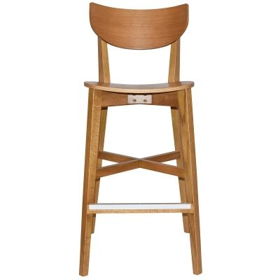 Rialto Commercial Grade Oak Timber Bar Stool, Timber Seat, Light Oak
